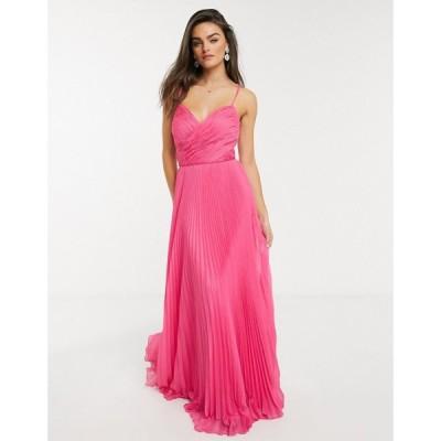 フォーエバーユニーク Forever Unique レディース ワンピース マキシ丈 ワンピース・ドレス pleated sweetheart maxi dress in pink フューシャピンク