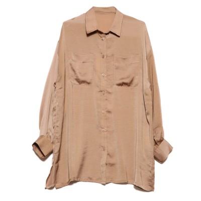 スタイルブロック STYLEBLOCK ヴィンテージサテンビッグシャツ (キャメル)