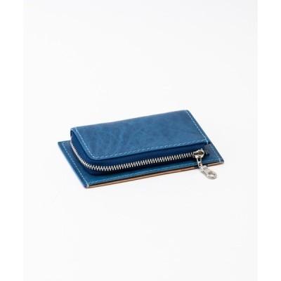 財布 藍染めレザー 小銭入れ付きミニ財布
