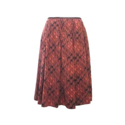 【中古】ポールスチュアート PAUL STUART スカート ひざ丈 フレア 総柄 オレンジ 黒 ブラック 6 M X レディース 【ベクトル 古着】