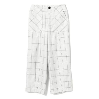 【ビームス アウトレット】 GHOSPELL / Brief Check Trouser Pants レディース ホワイト M BEAMS OUTLET