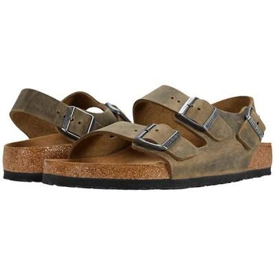 ビルケンシュトック Milano - Leather Soft Footbed (Unisex) メンズ サンダル Faded Khaki Oiled Leather