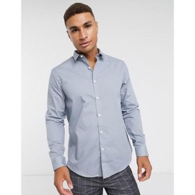 ニュールック メンズ シャツ トップス New Look long sleeve poplin shirt in gray