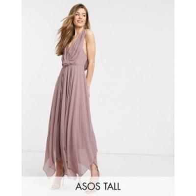 エイソス レディース ワンピース トップス ASOS DESIGN Tall drape bodice midaxi dress embellished Dusty rose