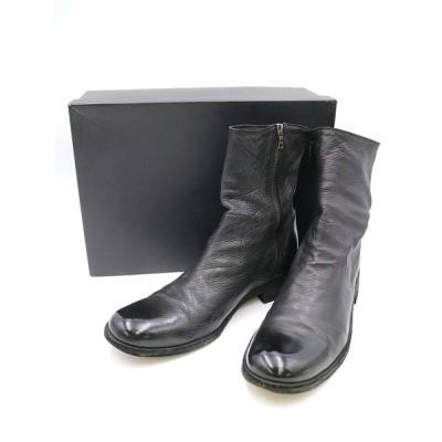 ISAMU KATAYAMA BACKLASH イサムカタヤマ バックラッシュ カーフヌメ製品染めサイドジップブーツ ブラック 27cm メンズ