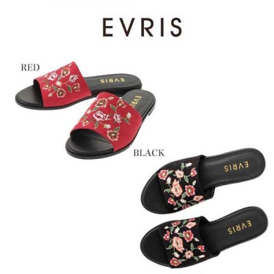 SALE60%OFF EVRIS エヴリス EMBROIDERYフラットサンダル 371731802001