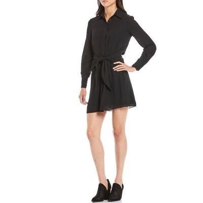 ジャンビニ レディース ワンピース トップス Rae Long Sleeve Tie Waist Button Front Gerorgette Dress