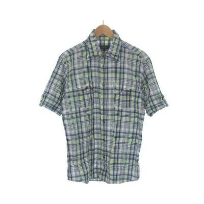 【中古】バーバリーブラックレーベル BURBERRY BLACK LABEL チェック シャツ ワイヤー衿 ワンポイント ロゴ 刺繍 半袖 マルチカラー 2 メンズ 【ベクトル 古着】