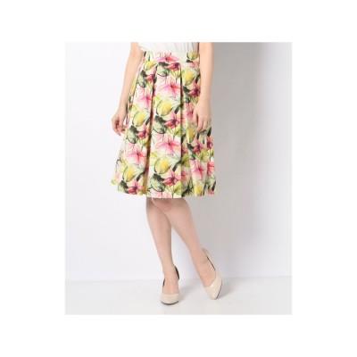 ELISA ビンダフラワープリントスカート(ピンク)【返品不可商品】