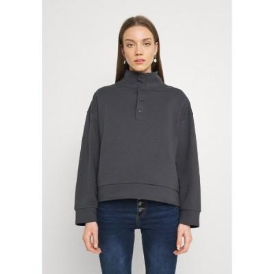 エブンアンドオッド パーカー・スウェットシャツ レディース アウター OVERSIZED POPPER HIGH NECK - Sweatshirt - grey