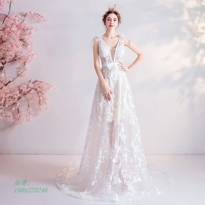 ウエディングドレス ウェディングドレス 二次会 ドレス 花嫁 Aライン 透かし感 結婚式 カラードレス ワンピース 演奏会 パーティー 白 シースルーレース