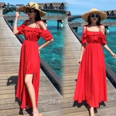レディースビーチ 海旅行赤いワンピースロング丈 シフォン リゾート ボヘミアン セクシービーチワンピースフェミニンマキシー キャミソー