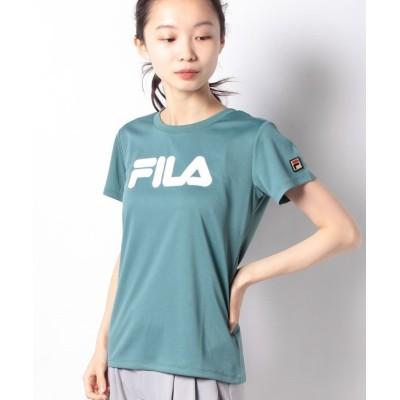 【フィラ】 レースアップリケTシャツ レディース グリーン S FILA
