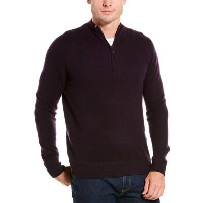 ラフィ パーカー・スウェットシャツ アウター メンズ Raffi Zip Mock Neck Cashmere Sweater cabernet