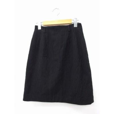 【中古】メイソングレイ MAYSON GREY スカート タイトスカート ミニ ジップ ウール ストライプ M ブラック 黒