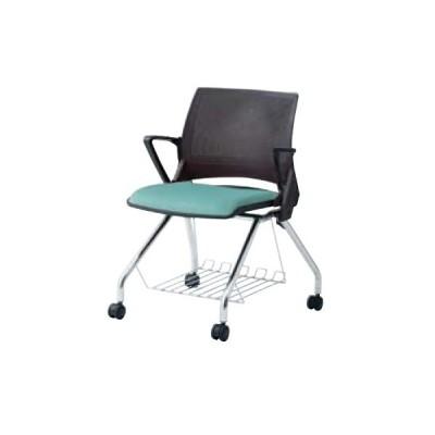 スタッキングチェア 肘付き キャスター付き 送料無料 シンプル オフィスチェア デスクチェア ミーティングチェア パソコンチェア 椅子 イス 布製 9317RF-F