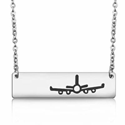 ステンレススチールAirplane PlaneバーペンダントネックレスギフトTraverパイロットStewardess Flight Attendant