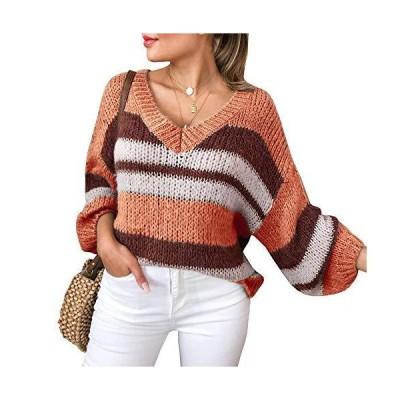 Chang Yun Women Striped Sweater Oversized V Neck Color Bock Long Lantern Sl
