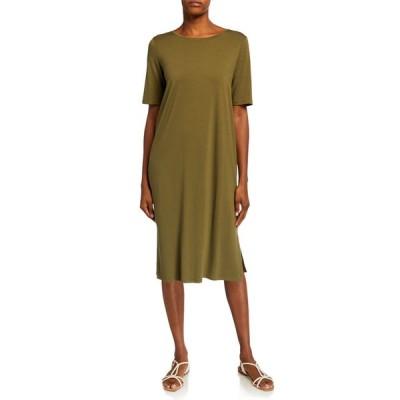 エイリーンフィッシャー レディース ワンピース トップス Short-Sleeve Calf-Length Side-Slit Jersey Dress