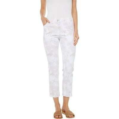 エリオットローレン Elliott Lauren レディース ジーンズ・デニム Fine Lines Floral Printed Five-Pocket Jeans in White/Camel White/Camel