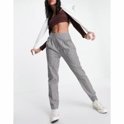 エイソス ASOS DESIGN レディース ボトムス・パンツ side tab peg trouser in brown gingham co-ord ブラウン