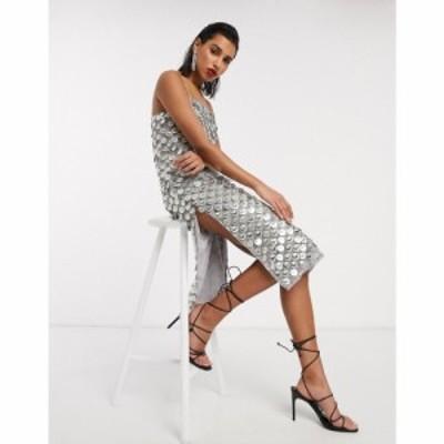 エイソス ASOS DESIGN レディース ワンピース キャミワンピ ワンピース・ドレス disc sequin cami embellished midi dress in grey グレ