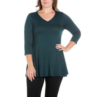 24セブンコンフォート レディース シャツ トップス Women's Plus Size Three Quarter Sleeves V-Neck Tunic Top