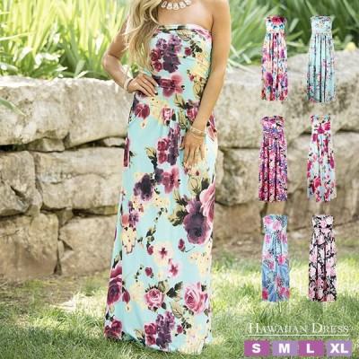 ハワイアンドレス フラドレス フラダンス ハワイアン ムームー ハワイムームー マキシワンピース ノースリーブ ロングドレス フラワープリント 花柄