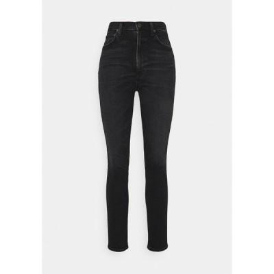 アゴルド デニムパンツ レディース ボトムス PINCH WAIST - Slim fit jeans - hotline/washed black
