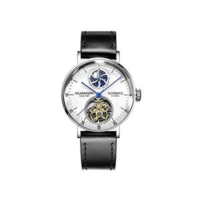 【新品・送料無料】Guanqin メンズ アナログ 自動巻き 機械式 スケルトン 腕時計 レザーバンド ムーンフェーズ シルバー ホワイト ブラック