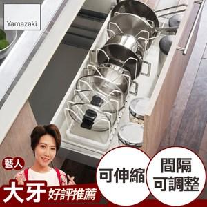 日本【YAMAZAKI】tower伸縮式鍋蓋收納架(白)