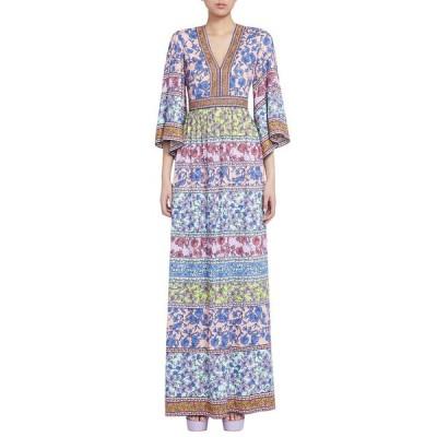 アリス アンド オリビア レディース ワンピース トップス Lena Embroidered V-Neck Kimono-Sleeve Maxi Dress