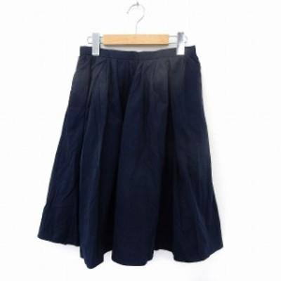 【中古】アーバンリサーチ URBAN RESEARCH スカート 日 フレア ギャザー バックジップ シンプル FREE ネイビー 紺