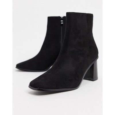 レイド レディース ブーツ&レインブーツ シューズ RAID Paulina square toe ankle books in black Black micro