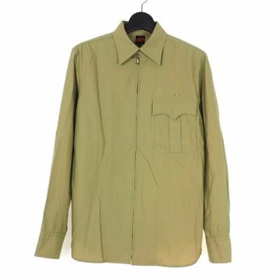 【中古】ジャンポールゴルチエ Jean Paul GAULTIER ジップアップ コットン シャツ 長袖 48 ベージュ メンズ 【ベクトル 古着】