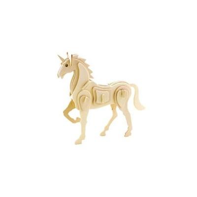 Homeford Mythical Unicorn DIY 3D木製パズル ナチュラル 6-1/2インチ