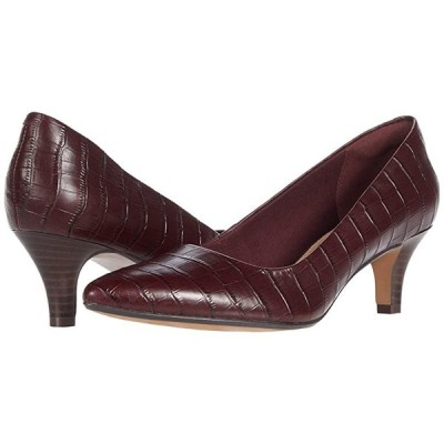 クラークス Linvale Jerica レディース ヒール パンプス Burgundy Croc Leather