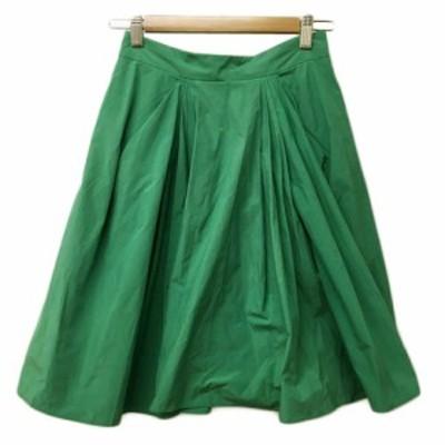 【中古】トランテアン ソン ドゥ モード スカート フレア ミニ プリーツ ナイロン 36 緑 グリーン レディース