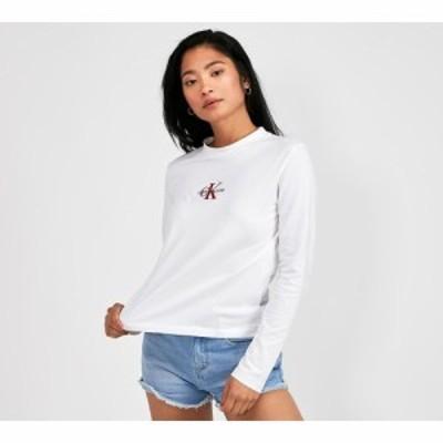 カルバンクライン Calvin Klein Jeans レディース 長袖Tシャツ トップス embroidered centre long sleeved t-shirt White/Red