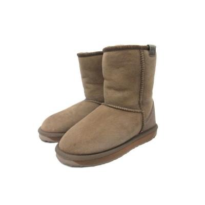【中古】エミュー emu シープスキンブーツ スティンガーミニ Stinger MINI ムートン ブーツ 24 ベージュ 茶 ブラウン 靴 レディース 【ベクトル 古着】