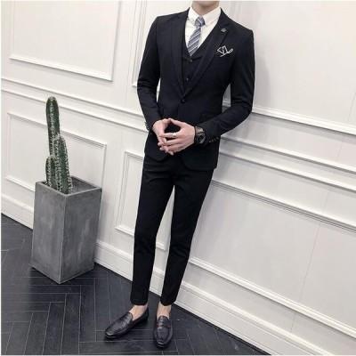 メンズ スーツ 3点セット ジャケット&ズボン&ベスト 紳士 宴会 二次会 披露宴 ビジネス 細身 通勤 入学式 卒業式  面接 結婚式 成人式