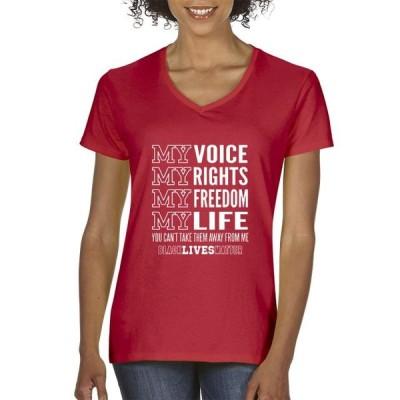 レディース 衣類 トップス Trendy USA 1094 - Women's V-Neck T-Shirt My Voice My Rights Black Lives Matter Human Rights XS Red Tシャツ