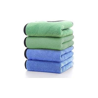 HUOYUNK 洗車タオルマイクロファイバークロス速乾性高吸水性タオル洗車職人家事掃除用 (グリーン*ブル 30*30)
