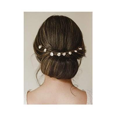 (新品) SWEETV Pearl Bridal Hair Pieces, Handmade Wedding Headband Simple Bride Headpiece Hair Vine for Women & Girls