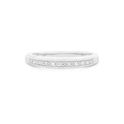 ダイヤモンド おすすめブランド Ladies 10K White Gold .09ct Half Eternity Diamond Wedding Band Size 07