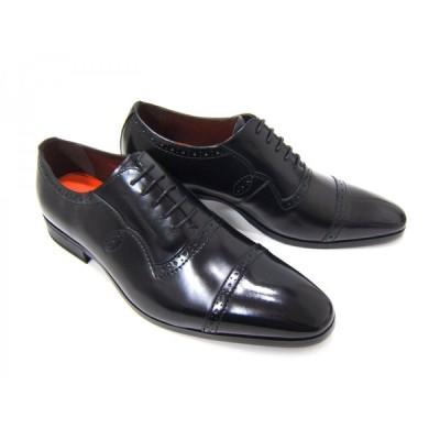 YUKIKO HANAI/ユキコ ハナイ ビジネスYH-3111 紳士靴 ブラック ストレートチップ 内羽根 飾り縫い ビジネス 送料無料