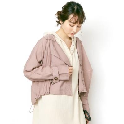(Rejoule/リジュール)2020新作 シアー素材  裾ドロストショートトレンチコート/レディース モカ
