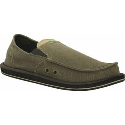 サヌーク メンズ スリッポン・ローファー シューズ Men's Sanuk Pick Pocket Moc Toe Shoe Brown Textile