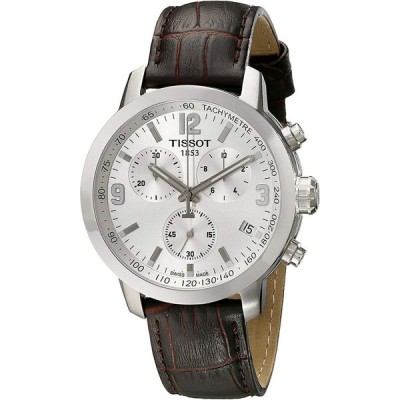 Tissot Men's TIST0554171603700 PRC 200 Chronograph Stainless Steel Watch with Brown Leather Band 並行輸入品