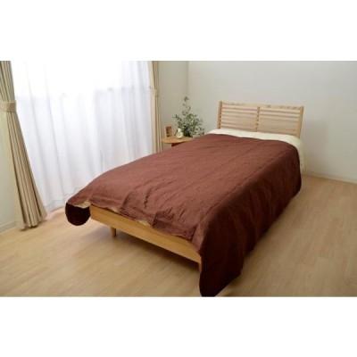 イケヒコ・コーポレーション(IKEHIKO) オールシーズン使用 キルトタイプ 洗える マルチカバー 正方形 『シェール』ブラウン 約190×190cm